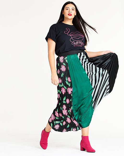 Black & Green Print Sunray Pleat Maxi Skirt