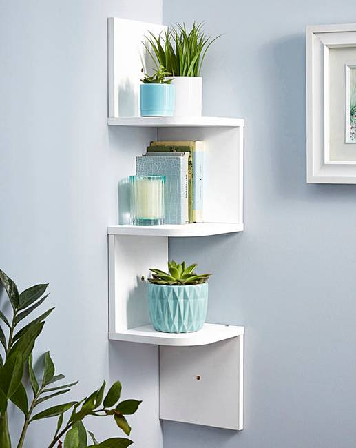Shelves White Walls And Entry Ways: Zig Zag Corner Wall Shelf White