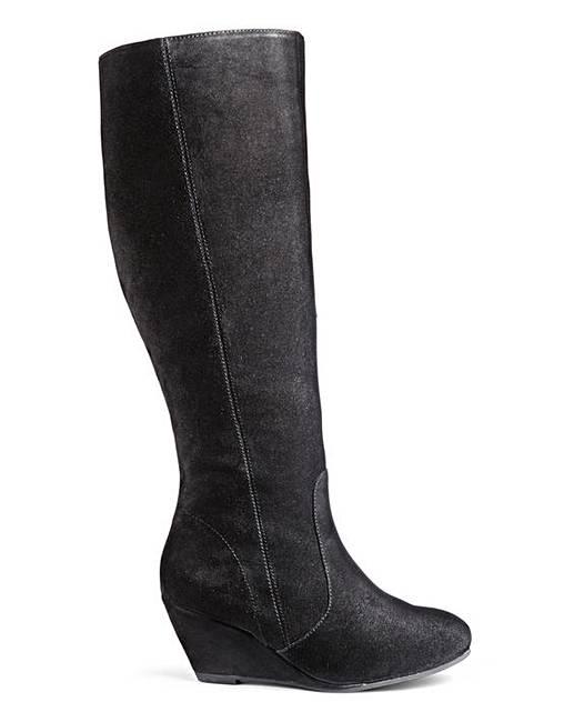 80f071af737 Legroom Wedge Boot Super Curvy Leg E Fit