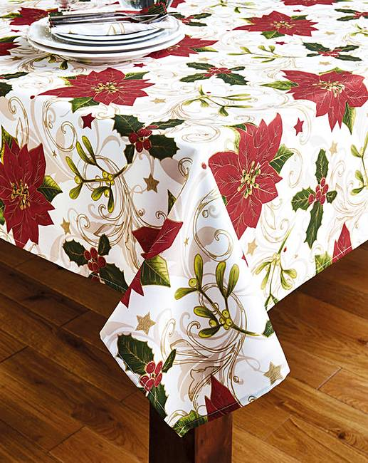 Beau Holly Poinsettia Tablecloth With FREE Apron