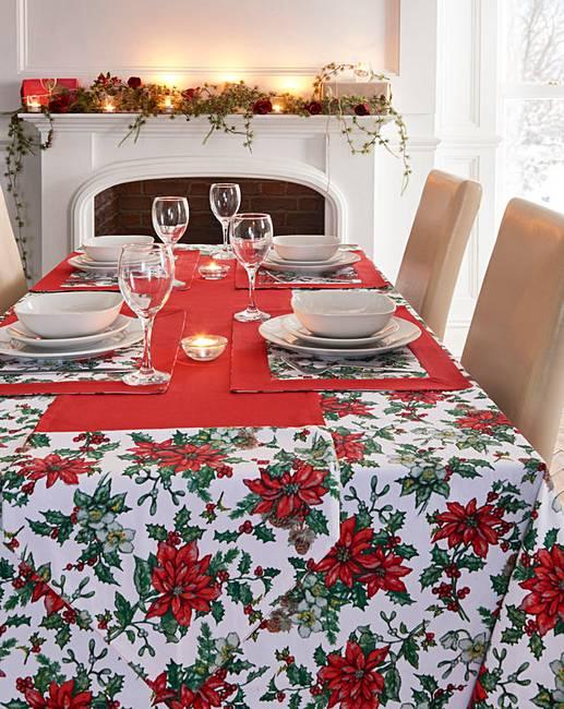 Poinsettia Christmas Table Cloth