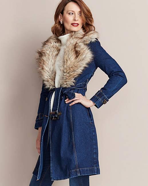aff5cffe4a5 Denim Coat With Detachable Faux Fur