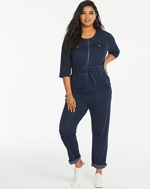 Premium Jersey Denim Zip Front Tapered Leg Jumpsuit by Simply Be