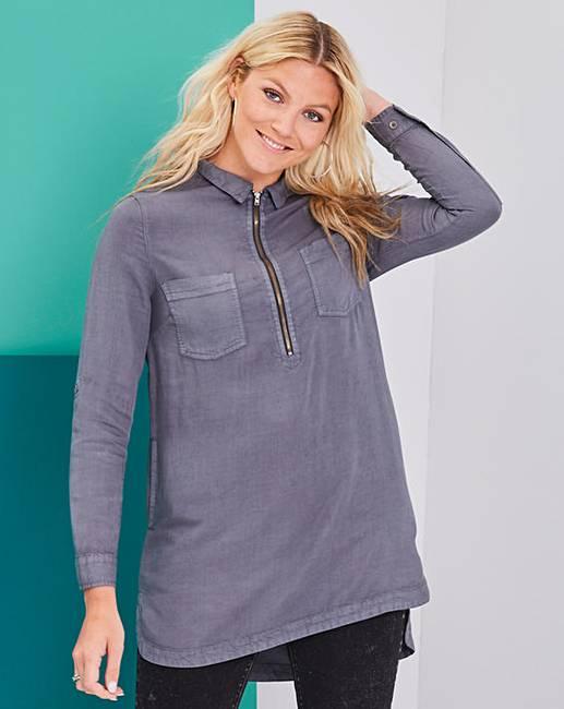 4cb0f20cd2d Soft Tencel Denim Tunic with Zip Front | Fashion World