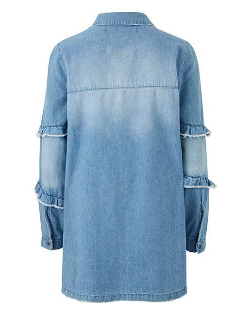 5d988976e9 Frayed Ruffle Oversized Denim Shirt