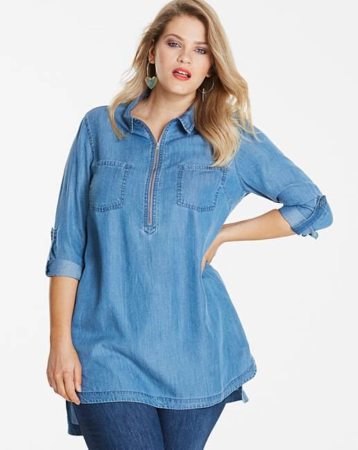 f7083020fc0 Petite Zip Front Tencel Denim Tunic | Fashion World
