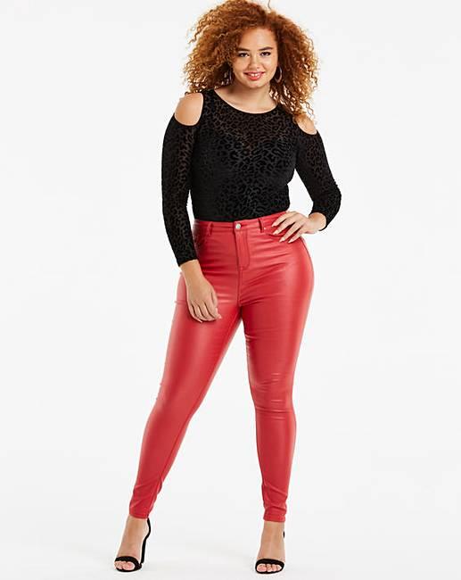 2adb71cd3b3e1 Red Chloe High Waist Coated Skinny Jeans   Simply Be
