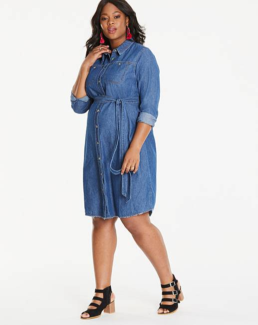 90a01a7d39 Maternity Denim Midi Shirt Dress