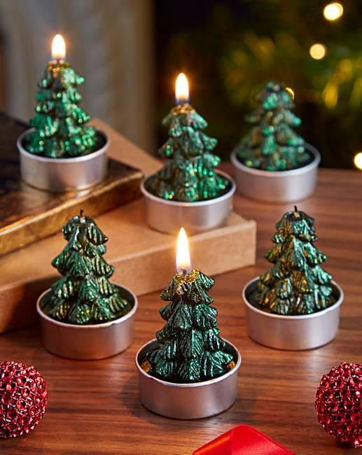 set of 6 christmas tree tealights