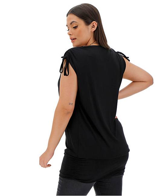 0417c06097b Black Ruched Shoulder Band Hem Tunic. 5 people have looked at this in the  last few hrs.