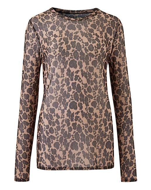 41fab3ad03f4 Animal Print Mesh Long Sleeve Top | Simply Be