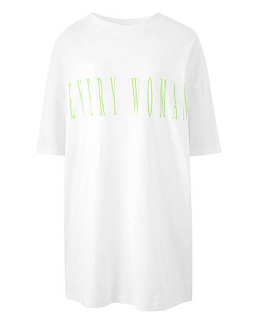 c316799b50a3 White Slogan T-Shirt Lightweight Boyfriend Tshirt