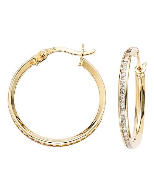 9 Carat Yellow Gold Cubic Zirconia Hoop Earrings