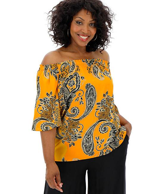 50fd3d7c62ff91 Yellow Print 3/4 Sleeve Bardot Top   Oxendales