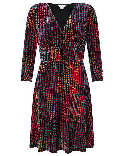 Monsoon Selina Spot Velvet Print Dress by Simply Be