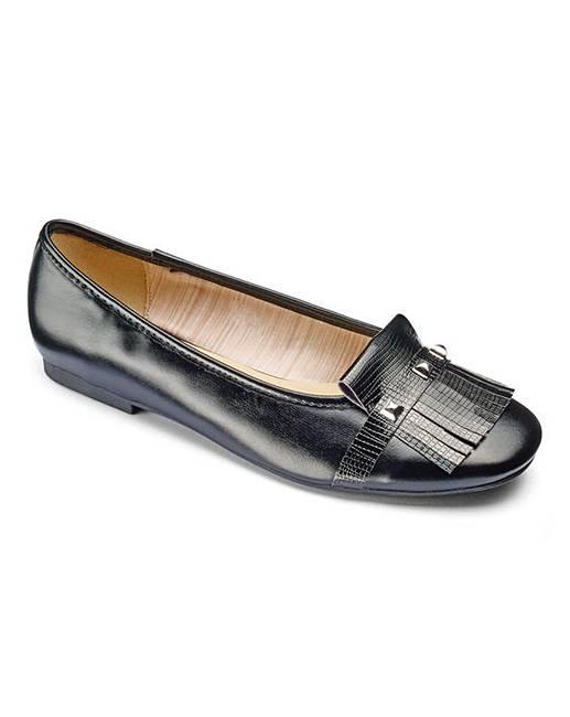 Wholesale Heavenly Soles Fringe Shoes With Trim Detail Wide E Fit