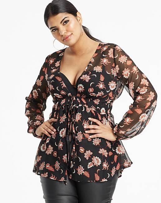 d3db55848 Black Print Tie Front Kimono   Simply Be