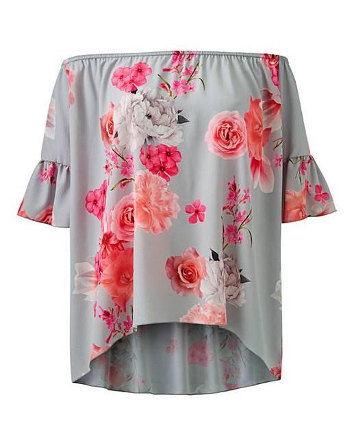 02cbf8fe517 Quiz Floral Bardot Top   J D Williams