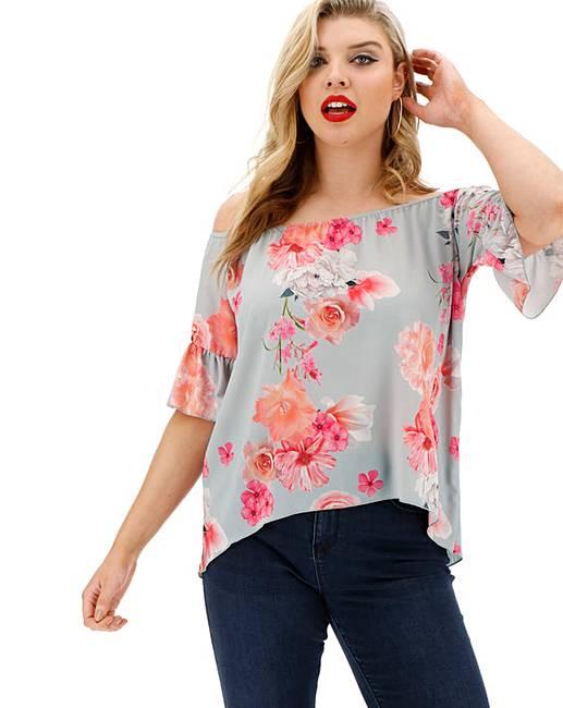 c2b29224070 Quiz Floral Bardot Top   Simply Be