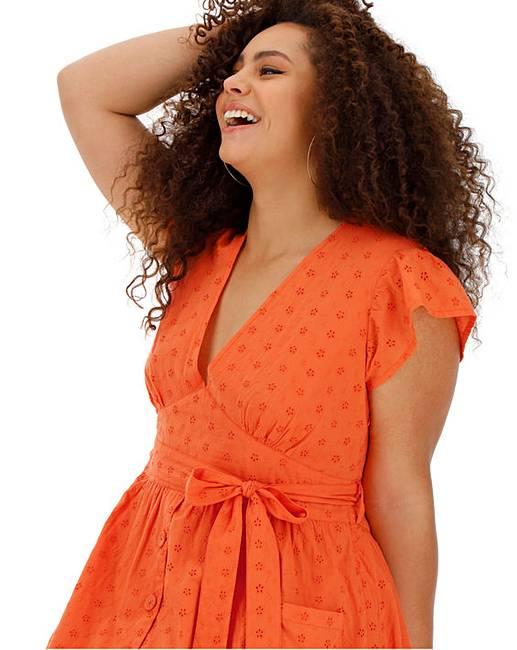 51280e5ee7b Neon Rose V Neck Orange Midi Dress