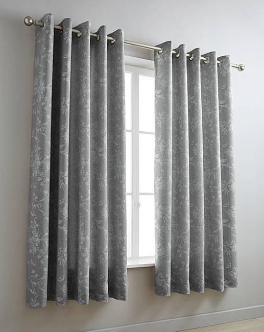 Sophia Jacquard Grey Eyelet Curtains | Oxendales