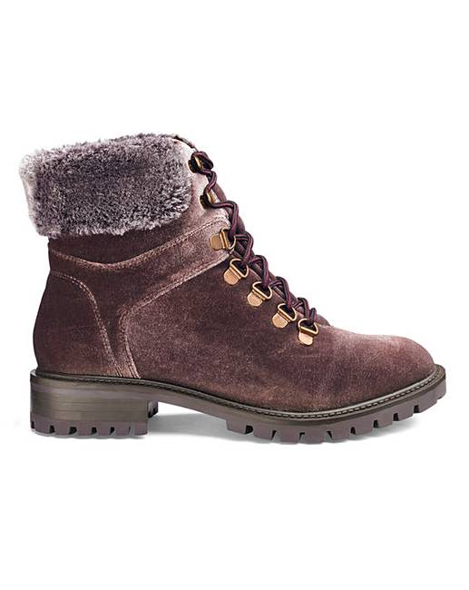 Janina Faux Fur Trim Hiker Boot Ex Wide J D Williams