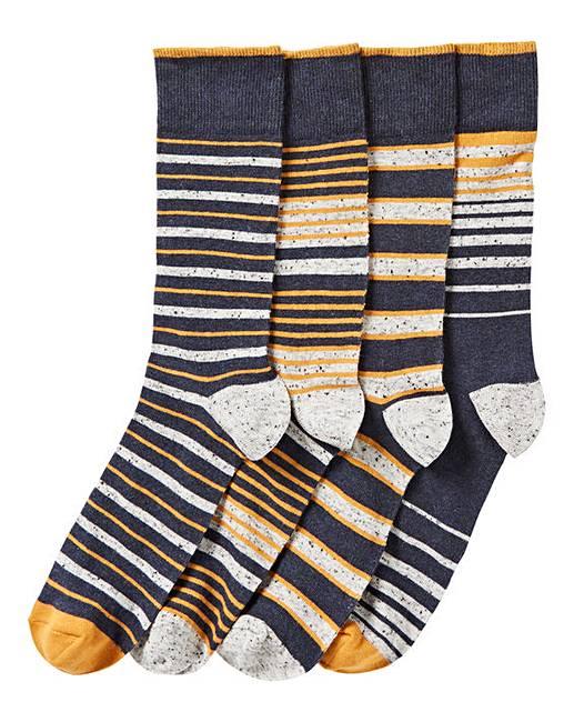 2802a0a8329ec Pack of 4 Navy Nep Stripe Socks | Premier Man