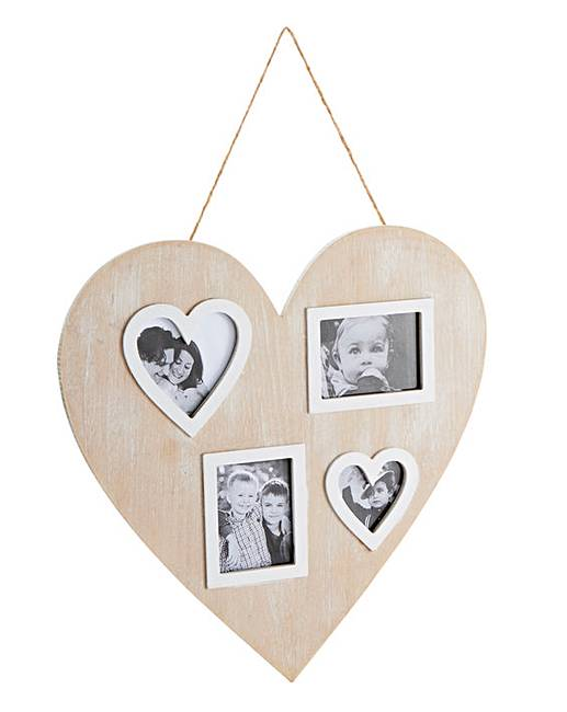 Wooden Heart Multi Aperture Photo Frame Marisota