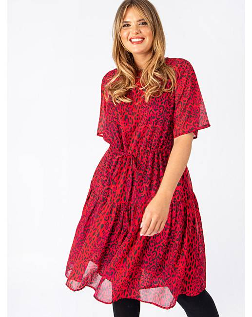 Koko Red Leopard Tiered Skater Dress by Simply Be