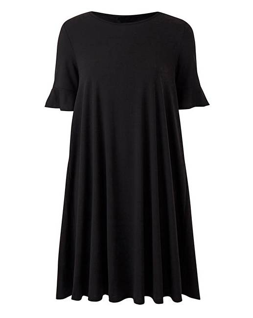 8271ebd1948d Frill Stretch Swing Dress with Frill Detail