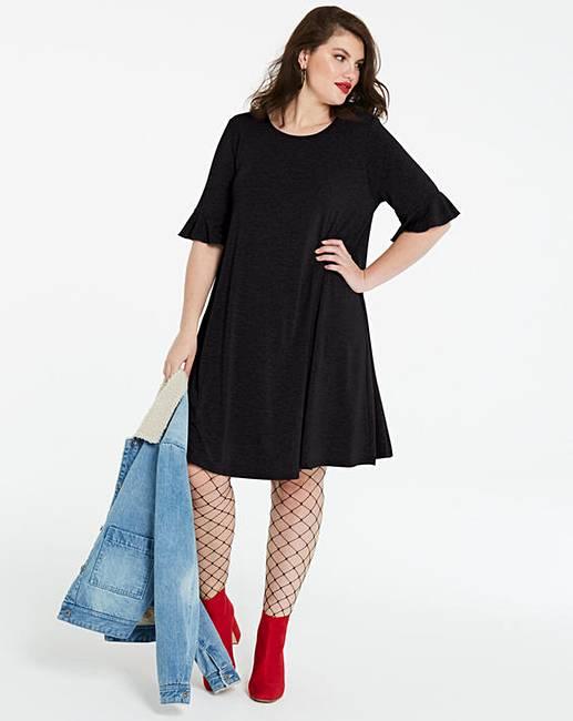 1bca1f00a4d9 Frill Stretch Swing Dress | Simply Be