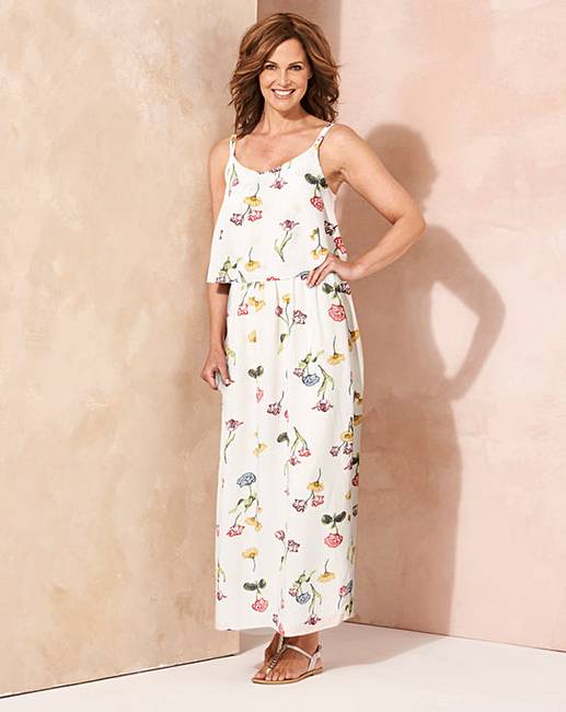 2a39f6bd1140 Ivory Floral Print Layer Maxi Dress | Oxendales