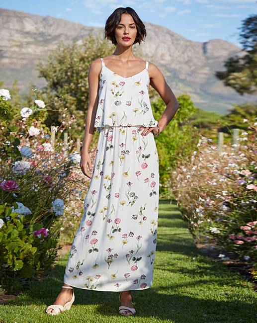 3b74c2eb1386 Ivory Floral Print Layer Maxi Dress | J D Williams