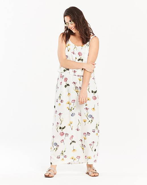 4881f44d9ee8 Ivory Floral Print Layer Maxi Dress | Simply Be