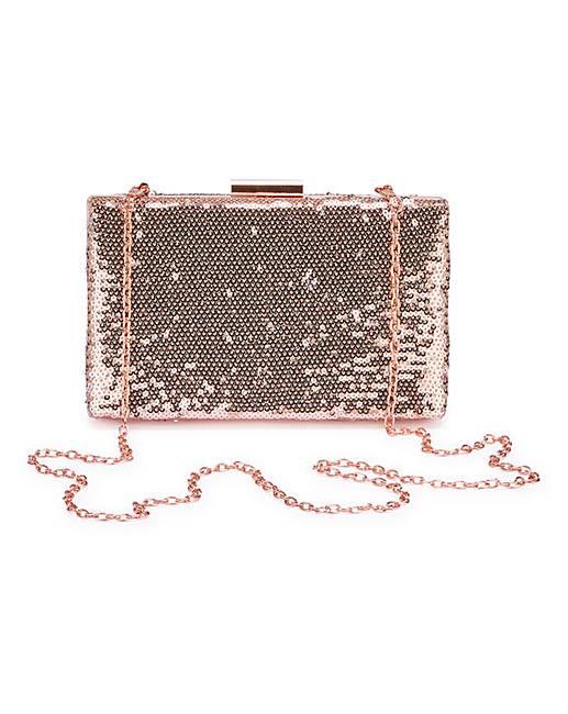 6937c45cbafc Rose Gold Sequin Clutch Bag | J D Williams