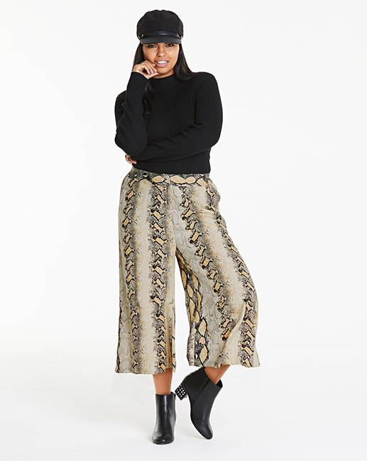 fa94b07d Snake Print Wide Leg Culottes | Simply Be