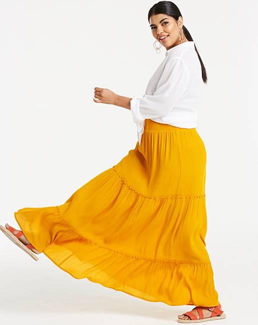 3ec1d51cb1 Crinkle Shirred Waist Maxi Skirt   Simply Be