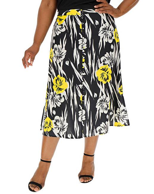 105c7446da Button Front Print A Line Midi Skirt | Fashion World