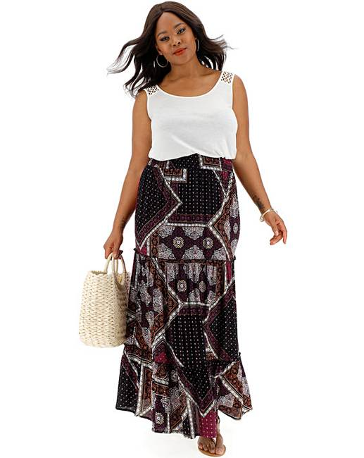 1635256fd2 Print Crinkle Shirred Waist Maxi Skirt   Simply Be