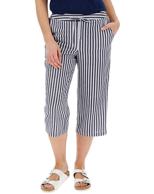 huge discount cheaper sale top-rated fashion Petite Stripe Linen Mix Crop Trousers