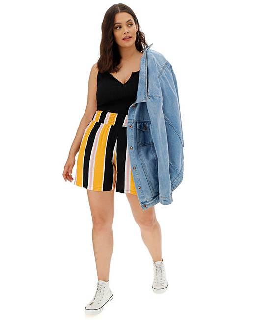 Stripe Crinkle Waist Shorts