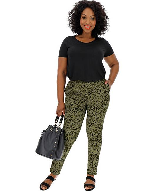 f98163ef666a Animal Print Crepe Tapered Trousers | J D Williams