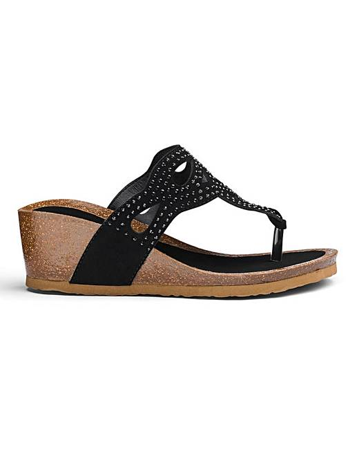 a50c1a8fcf8 Heavenly Soles Wedge Sandals EEE Fit
