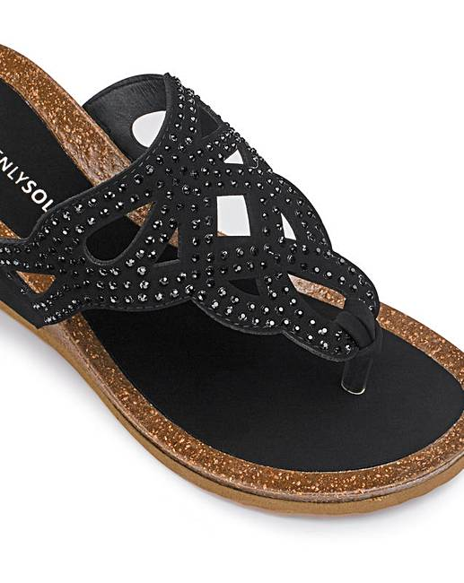 dd3d06ff949f Heavenly Soles Diamante Toe Post Wedge Sandals Extra Wide EEE Fit. Click to  view  JDW  products. Rollover image to magnify