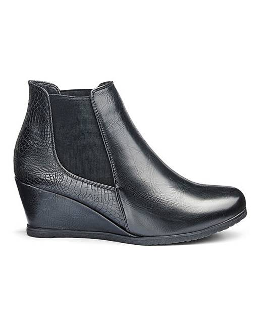 New Heavenly Soles Wedge Ankle Boots Extra Wide EEE Fit supplier