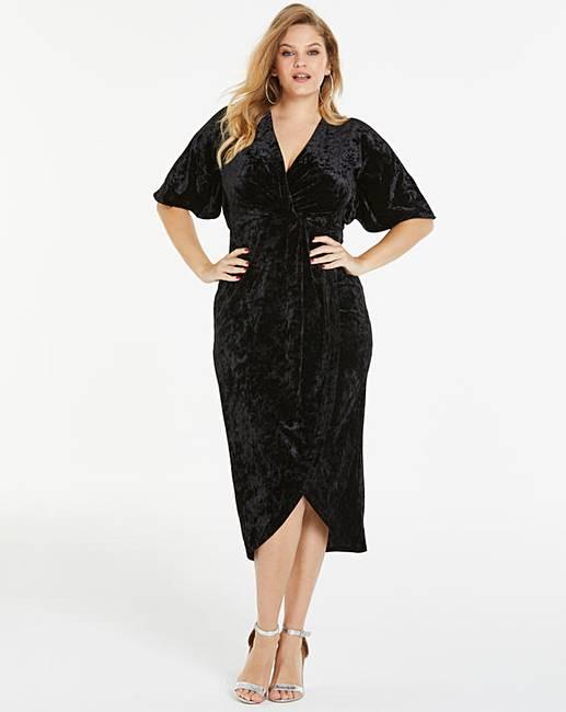 Joanna Hope Black Cross Front Velvet Maxi Dress by Simply Be