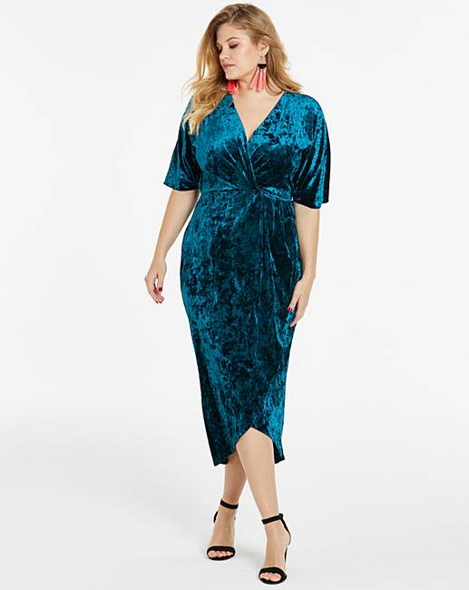 Joanna Hope Teal Cross Front Velvet Maxi Dress by Simply Be