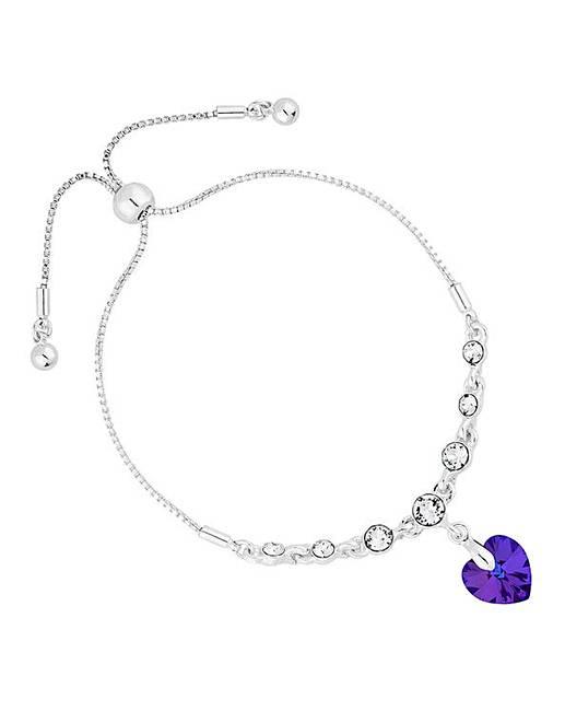 Silver Heart Toggle Bracelet Embellished With Swarovski Crystals