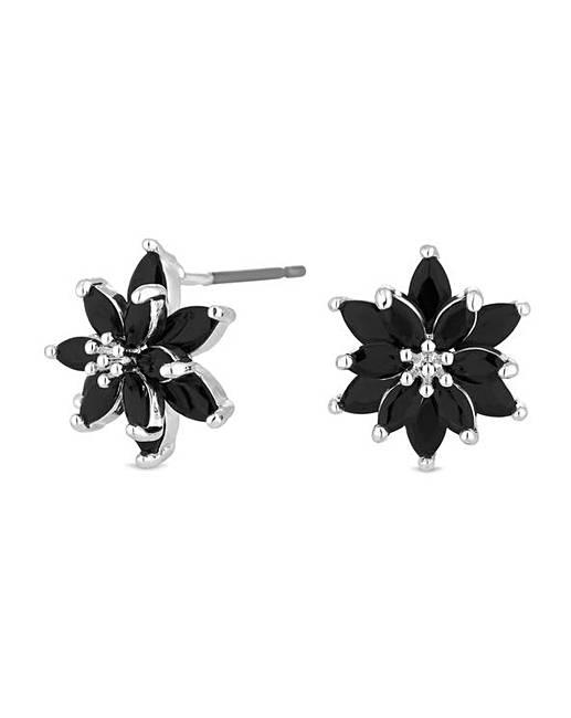 Black Cubic Zirconia Flower Stud Earring