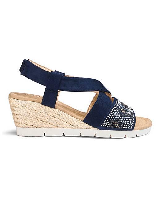 b9a024fe45a Diamante Detail Wedge Sandals E Fit